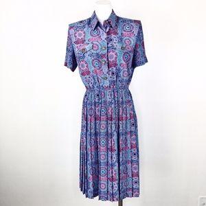 Vintage 80s 90s Leslie Fay | Pleated Skirt Dress